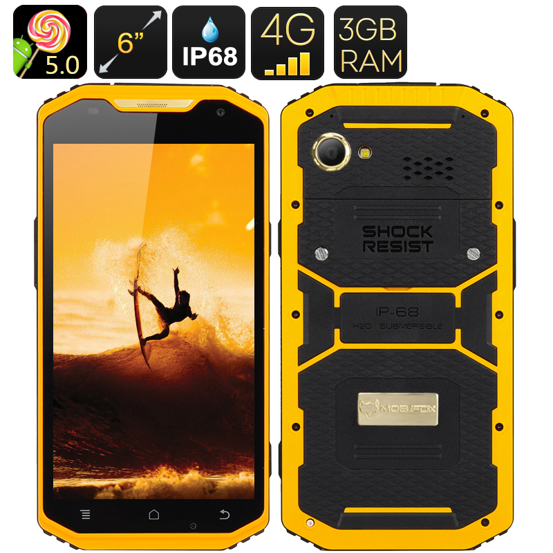 Wholesale Mfox A10 Pro Gold 6 Inch 1080p Rugged Smartphone (2.37g Au750 Gold, 4G, Altimeter)
