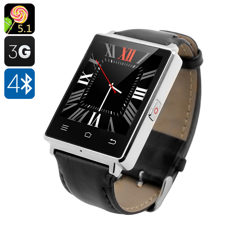 Wholesale NO.1 D6 1.63 Inch 3G Android Smart Watch Phone (Bluetooth 4.0, GPS, Wi-Fi, Heart Rate Monitor, Pedometer, Silver)