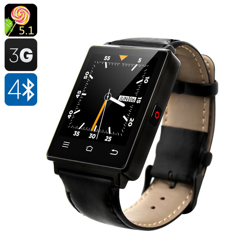 Wholesale NO.1 D6 1.63 Inch 3G Android Smart Watch Phone (Bluetooth 4.0, GPS, Wi-Fi, Heart Rate Monitor, Pedometer, Black)