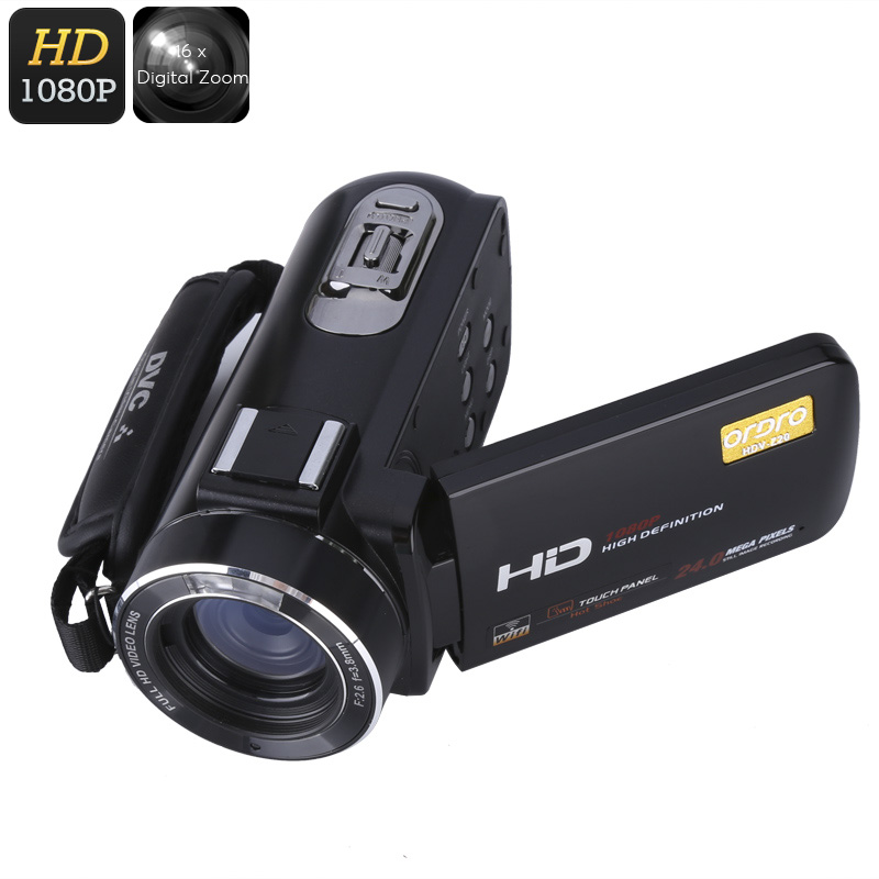 Wholesale Ordro Z20 Wi-Fi Digital Video Camera (8MP 1/4 Inch CMOS, 1080p Video + 24 MP Photos, 16x Digital Zoom, Anti-Shake)
