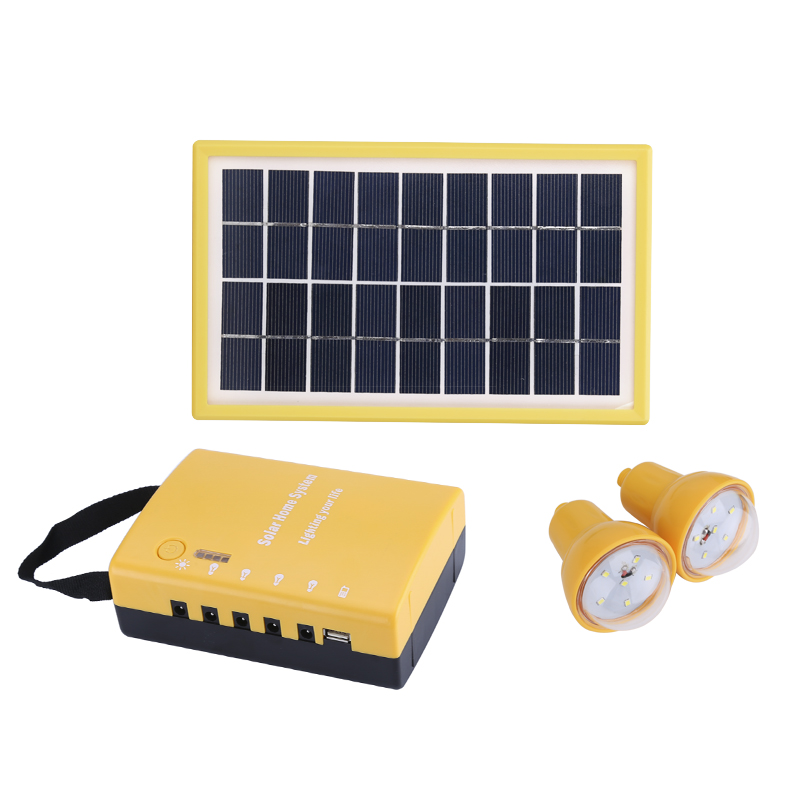 Wholesale Portable Solar Lighting System for Indoors/Outdoors (Dual 1.7W Solar Panel, 2 Rainproof LED Bulbs, 4500mAh Rechargeable)