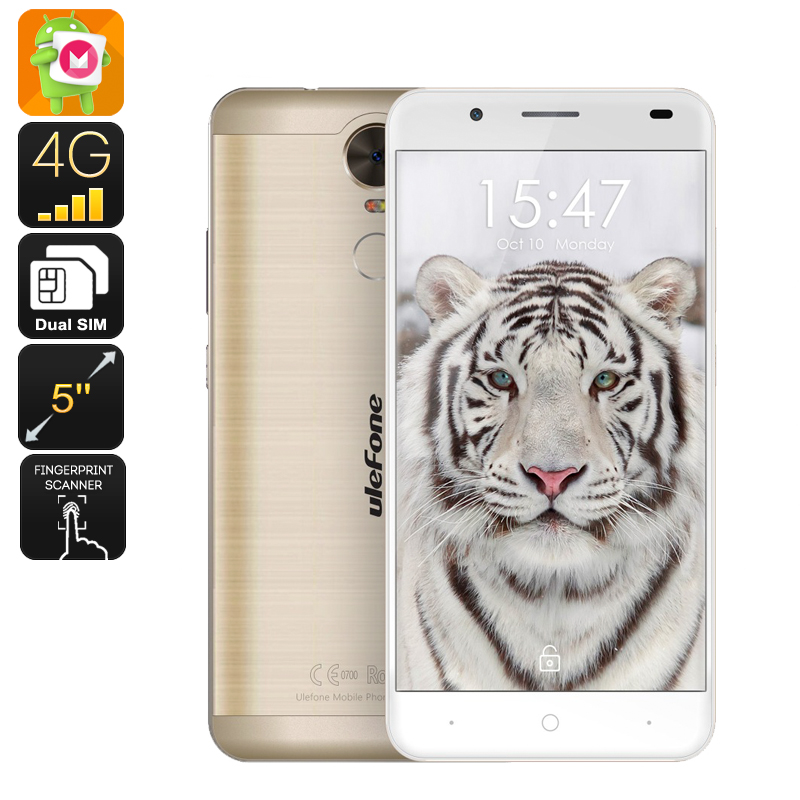 Wholesale Ulefone Tiger 5.5 Inch Android 6.0 Smartphone with 4200mAh Battery (Dual-SIM, 2GB RAM, Quad-Core CPU, Gold)