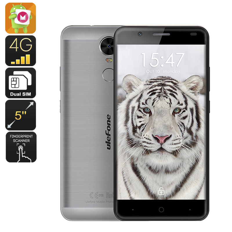 Wholesale Ulefone Tiger 5.5 Inch Android 6.0 Smartphone with 4200mAh Battery (Dual-SIM, 2GB RAM, Quad-Core CPU, Grey)