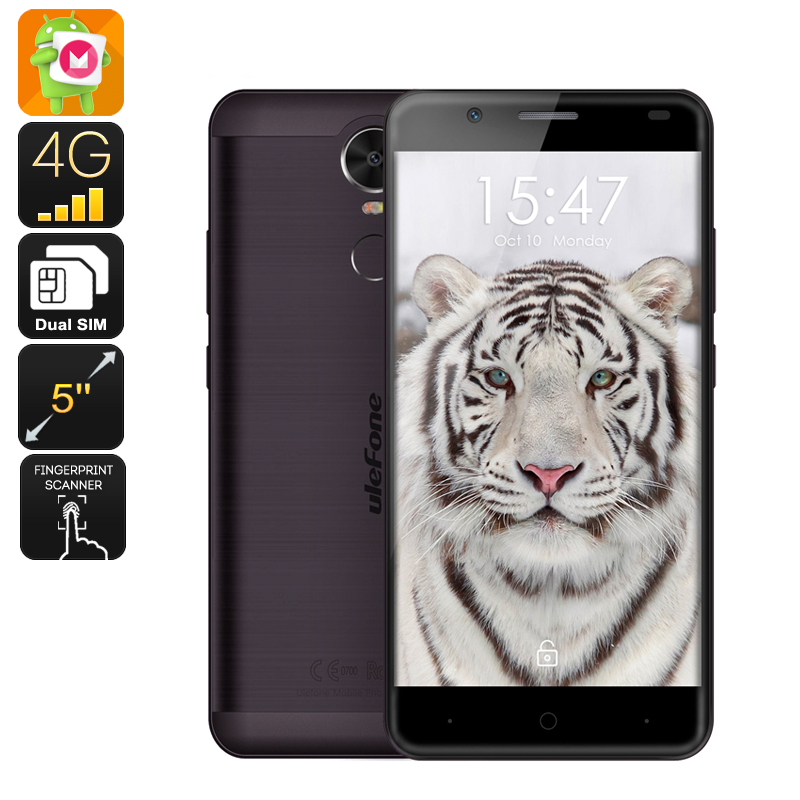 Wholesale Ulefone Tiger 5.5 Inch Android 6.0 Smartphone with 4200mAh Battery (Dual-SIM, 2GB RAM, Quad-Core CPU, Black)