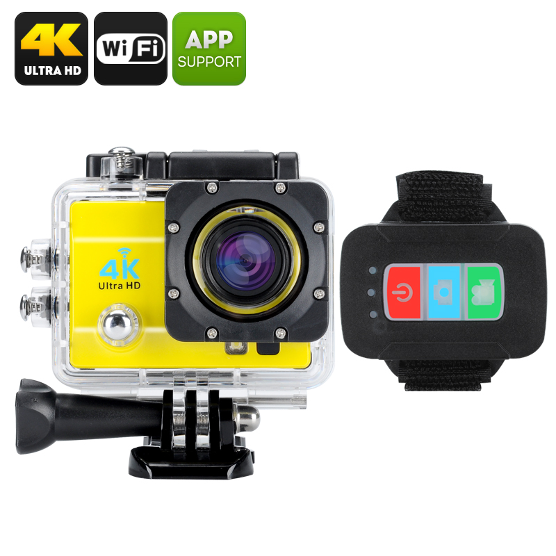 Wholesale Q3H IP68 Waterproof 4K Sports Camera (Wi-Fi, 16MP, 4x Digital Zoom, 170 Degree Wide Angle, Yellow)