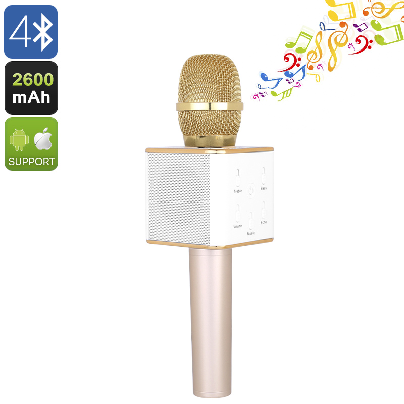 Wholesale Q7 Bluetooth 4.0 Karaoke Microphone with Two Speakers and 2600mAh Battery - Gold