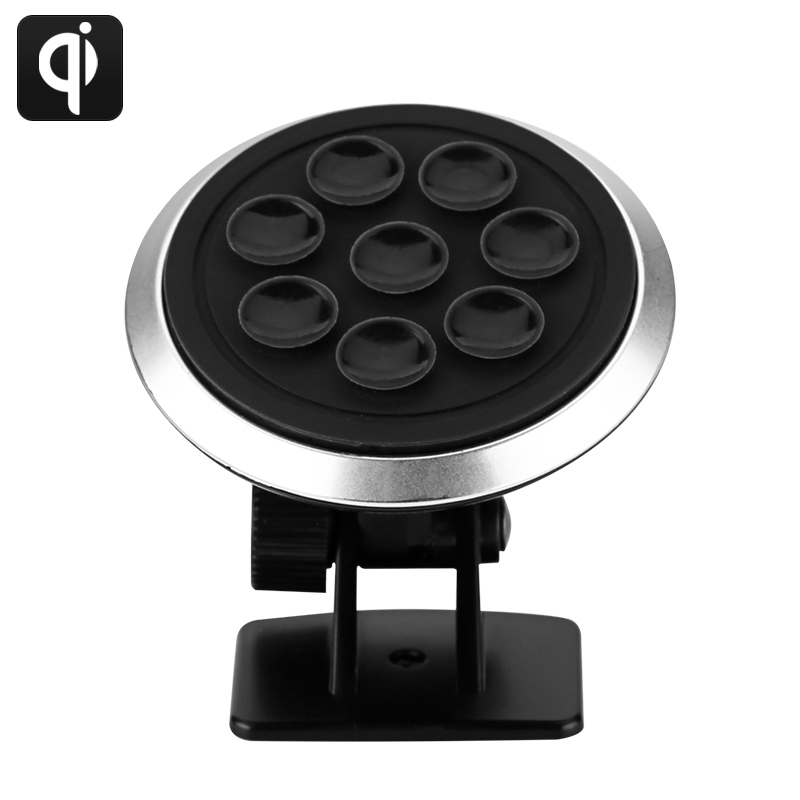 Wholesale Qi Wireless Car Charger (72% Efficiency, 360 Degree Rotatable, Non Slip 9 Suction Cup)