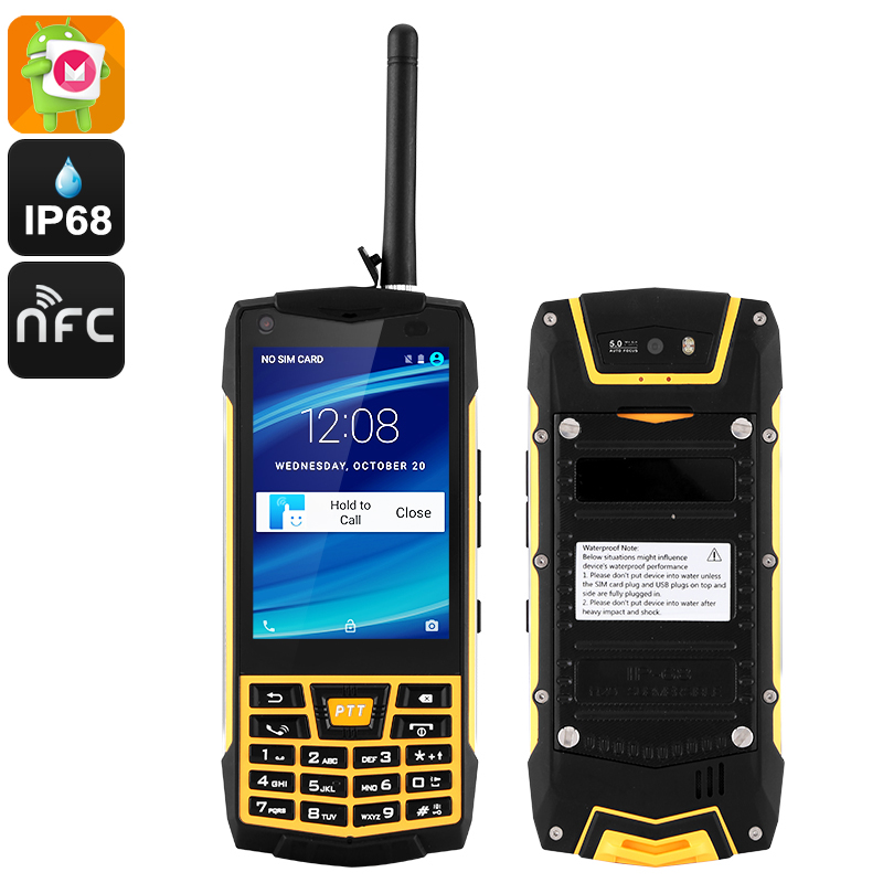 Wholesale Outdoor Waterproof Walkie Talkie Android Phone (IP68 Rugged, Quad Core CPU, SOS, NFC, Yellow)