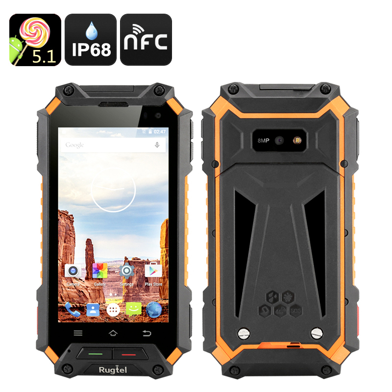 Wholesale Rugtel X10 4.5 Inch 4G Rugged Smartphone (IP68 Waterproof, NFC, Quad Core CPU, 2GB RAM, 16GB)