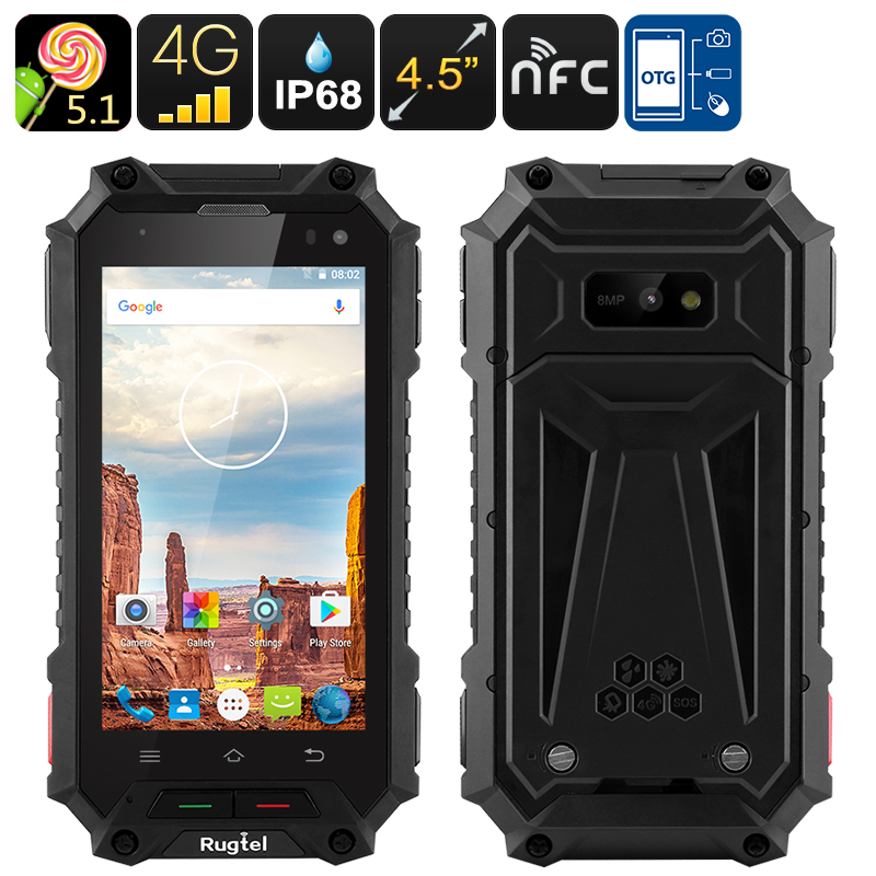 Wholesale Rugtel X10 4.5 Inch 4G Rugged Smartphone (IP68 Waterproof, NFC,