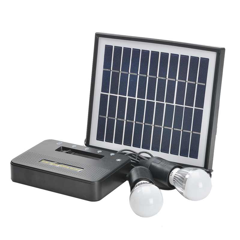 Wholesale Solar Home Lighting System (5W Solar Panel with 5 Meter Cable, 2x1W Bulbs, 4400mAh Power Bank)