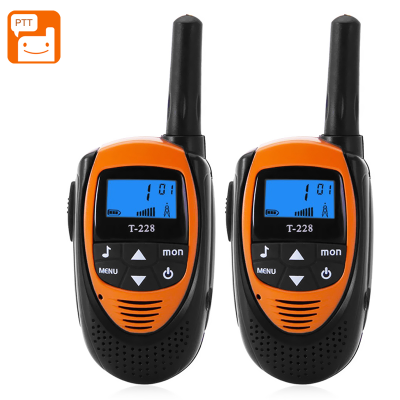 Wholesale T-228 Pair Outdoor Walkie Talkie (4KM Range, 22 Channels, 99 Sub Codes, Belt Clip, Orange)