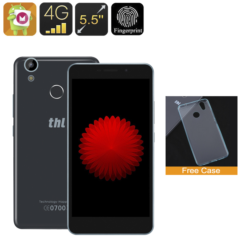 Wholesale THL T9 5.5 Inch Android 6.0 Smartphone (Fingerprint, Quad-Core CPU, 4G Dual-SIM, 1GB RAM, 8GB, Black)