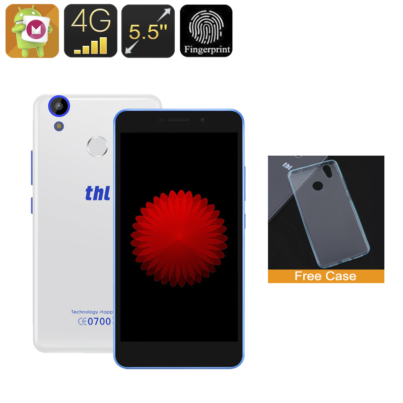 Wholesale THL T9 5.5 Inch Android 6.0 Smartphone (Fingerprint, Quad-Core CPU, 4G Dual-SIM, 1GB RAM, 8GB, White)