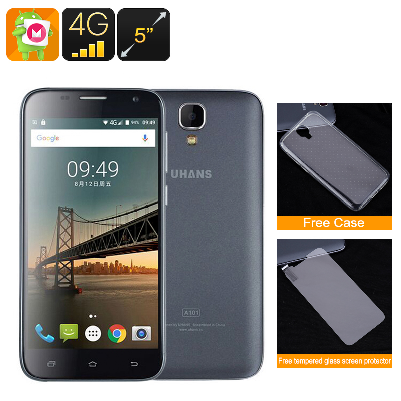 Wholesale UHANS A101 5 Inch HD Android 6.0 Smartphone (Dual SIM IMEI, 4G, Quad-Core CPU, Black)
