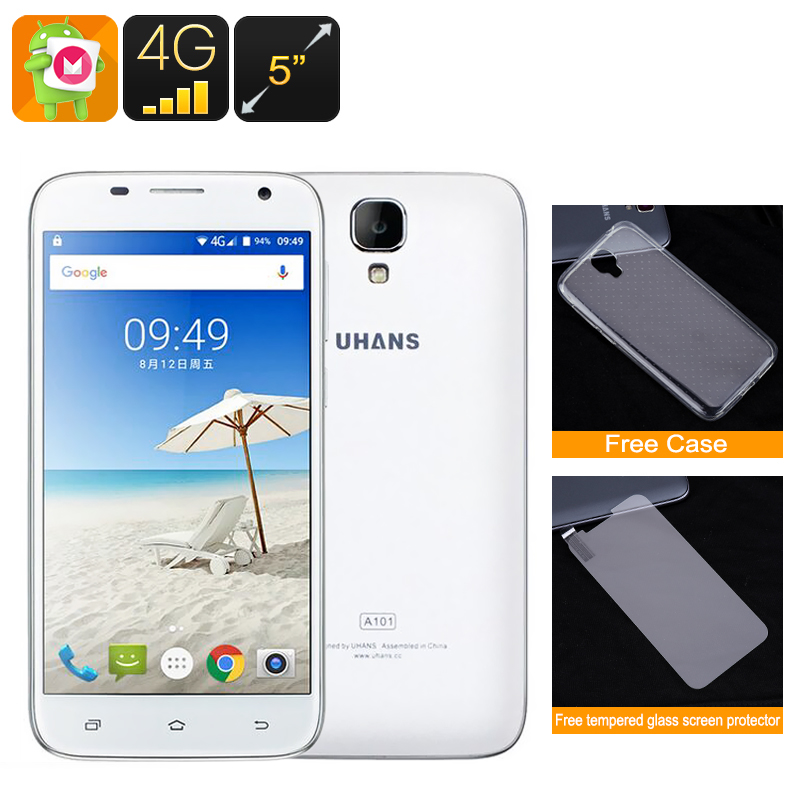 Wholesale UHANS A101 5 Inch HD Android 6.0 Smartphone (Dual SIM IMEI, 4G, Quad-Core CPU, White)