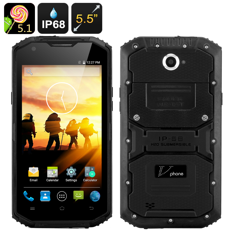Wholesale V Phone X3 Rugged 5.5 Inch HD Android 5.1 Smartphone with LED Flashlight (IP68 Waterproof, 4500mAh, Black)
