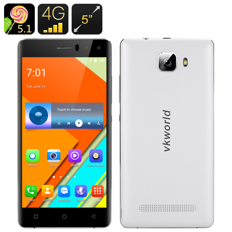 Wholesale VKWorld T3 5 Inch HD Android 5.1 Smartphone (Quad Core CPU, 2GB RAM, 16GB, White)