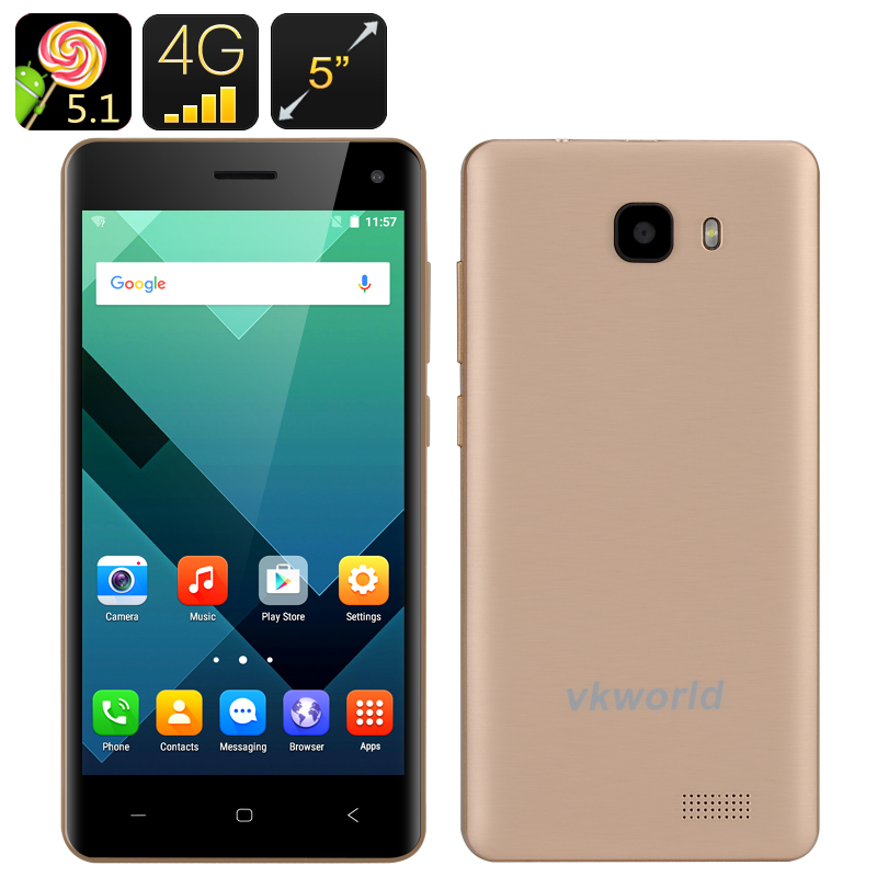 Wholesale VKWorld T5-SE 5 Inch HD Android Phone (Dual SIM, Bluetooth 4.0, Smart Wake, LED Flashlight, Gold)