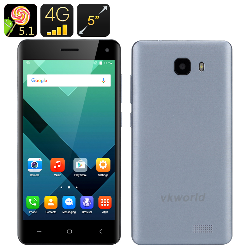 Wholesale VKWorld T5-SE 5 Inch HD Android Phone (Dual SIM, Bluetooth 4.0, Smart Wake, LED Flashlight, Grey)