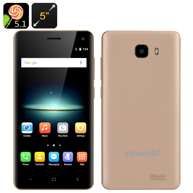Wholesale VKWorld T5 5 Inch HD Android Smartphone (Gesture Sensor, Smart Wake, Quad Core CPU, 2GB RAM, 16GB, Gold)