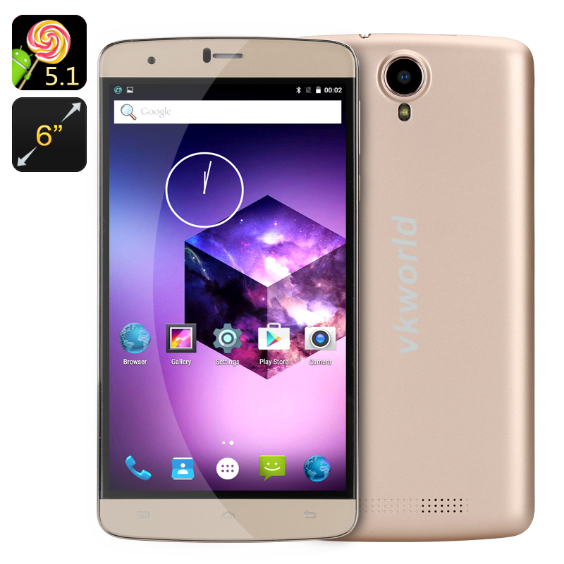 Wholesale VKWorld T6 6 Inch Android Smartphone (4G Dual SIM, Smart Wake, Gesture Sensing, 16GB, Gold)