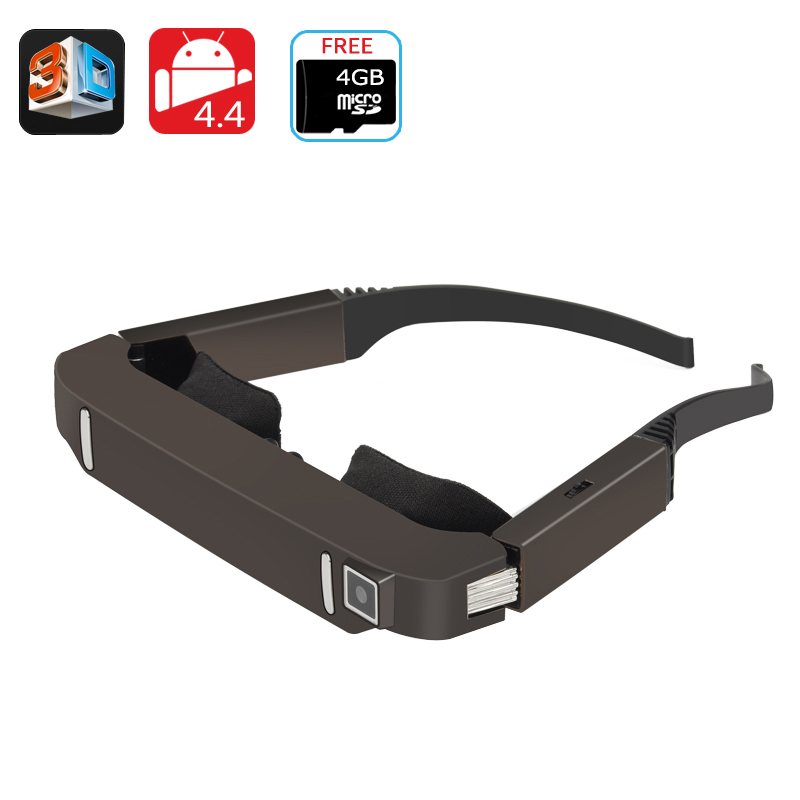 Wholesale Vision 800 1080p Android 3D Video Glasses with Bluetooth, Wi-Fi, 5MP Camera