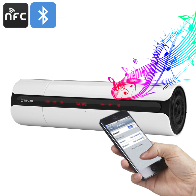Wholesale Stylish NFC Wireless Bluetooth Speaker with Built-In Microphone, 3D Sound, FM Radio - White