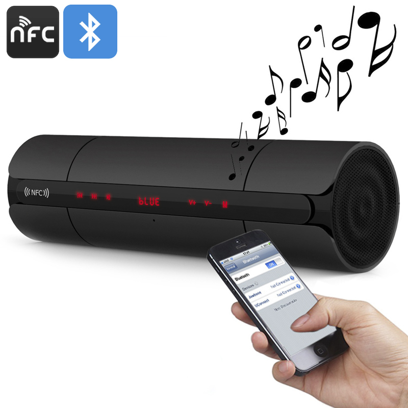 Wholesale Stylish NFC Wireless Bluetooth Speaker with Built-In Microphone, 3D Sound, FM Radio - Black