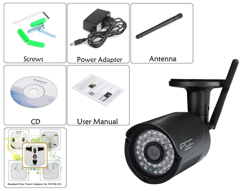 Outdoor Wireless 720P HD IP Camera (IR Night Vision, Motion