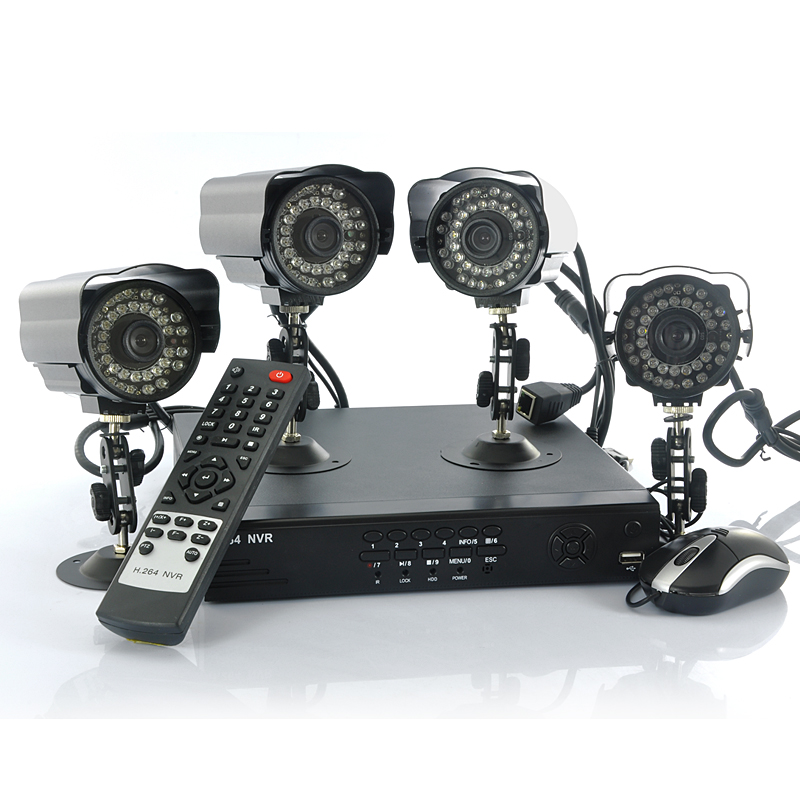 Wholesale 4 Channel Hybrid Network Video Recorder System (4 IP Cameras, Mobile Access, H.264)