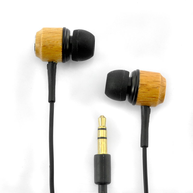 Wholesale Stylish Wooden Design Earphones with Silicon Ear Cushion