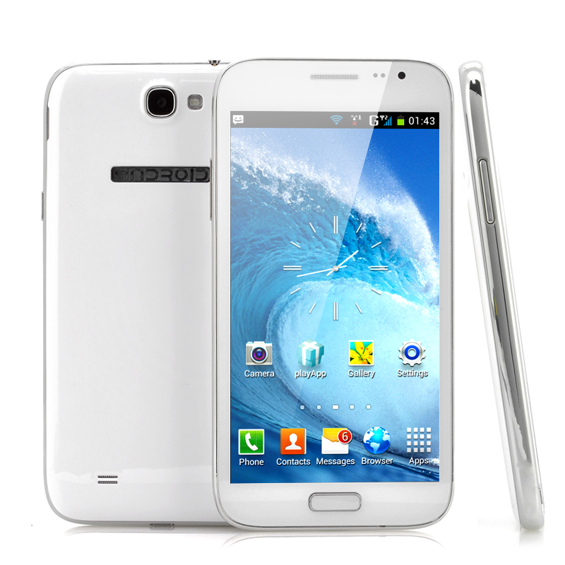 Wholesale Crush - 5.3 Inch Dual SIM Android Phone (Qualcomm Dual Core 1GHz CPU, 854x480, Dual Camera, White)