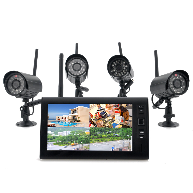 Wireless surveillance camera with monitor