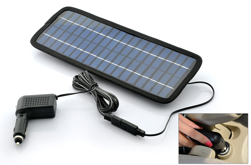 Emergency USB Solar Battery Charger with Car Cigarette Lighter Adapter