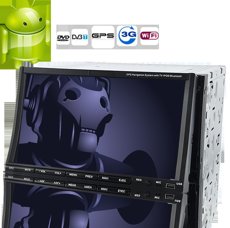 Road Cyberman - 2 DIN Android 2.3 Car DVD Player with 7 Inch Capacitive Touchscreen, DVB-T, GPS, 3G+WiFi