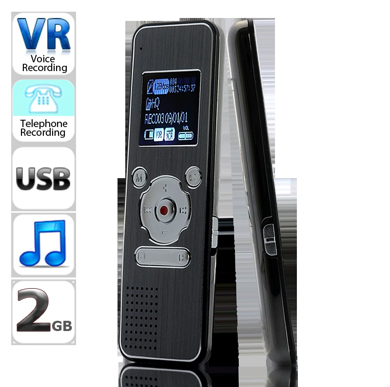 Wholesale Digital Voice and Telephone Recorder with Speaker, MP3 Player, FM Radio - 2GB