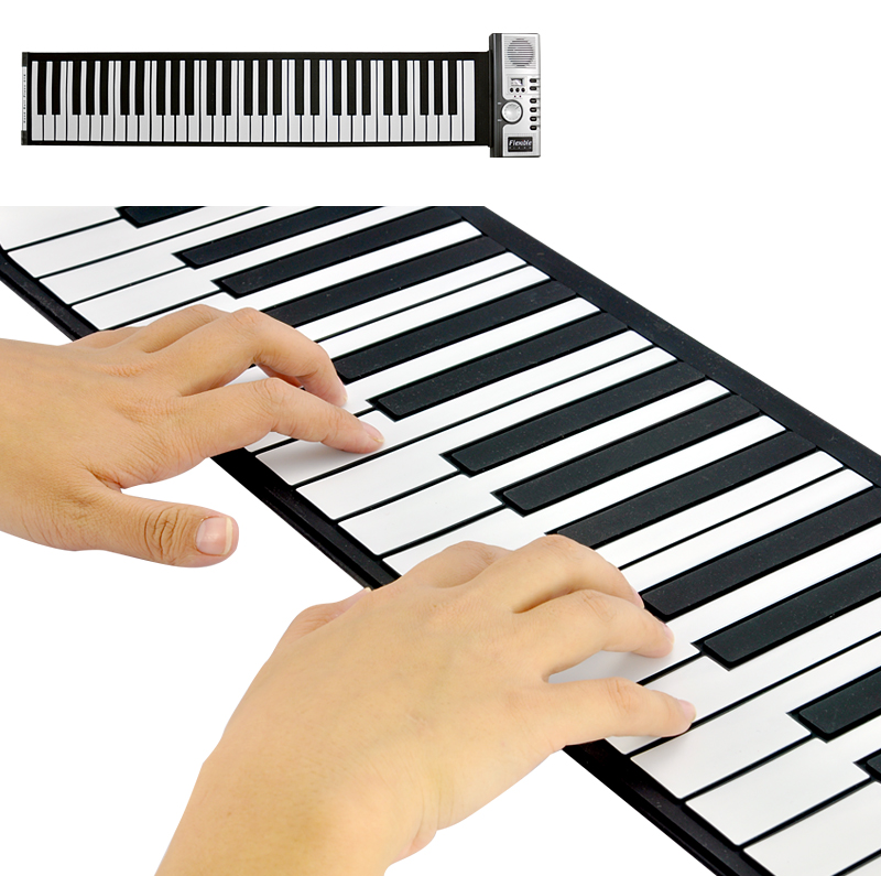 Wholesale Flexible Roll Up Piano with Soft Keys (61 Keys, 128 Synthesized Tones, 100 Preset Rhythms)