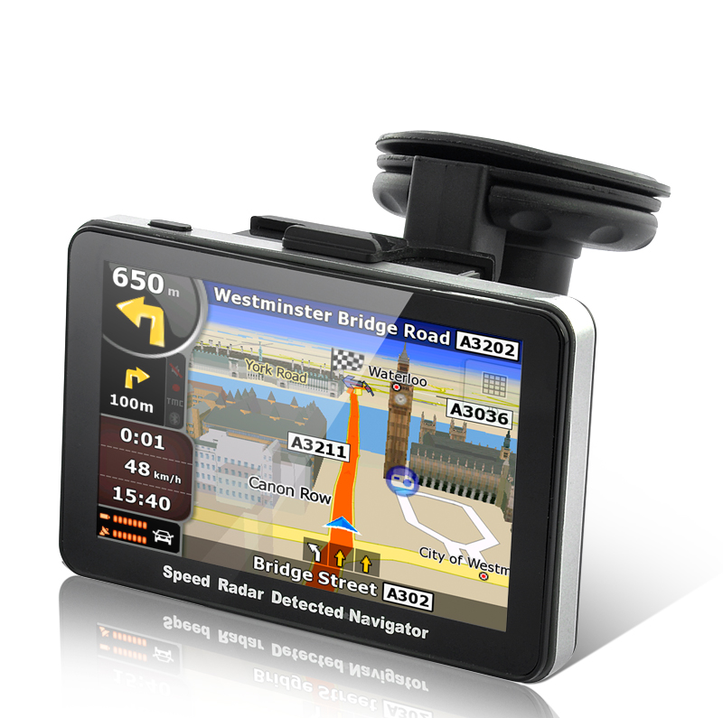 RadarBot - GPS Navigator with Speed Radar Detector (5 Inch, FM Transmitter)