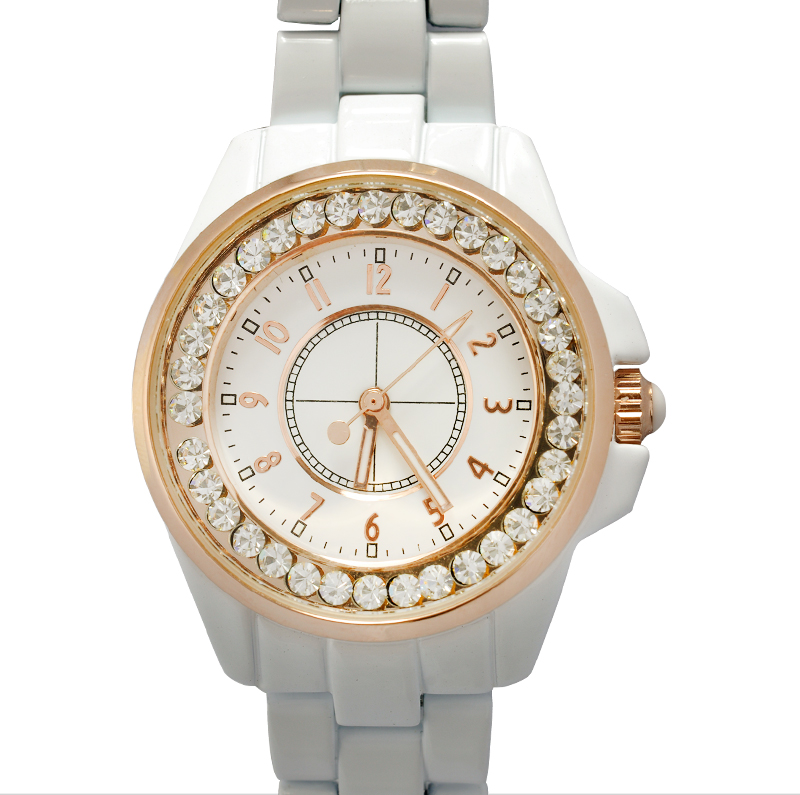 Wholesale White Bling Diamond Analog Watch for Girls with Gold Rim and Stainless Steel Backing