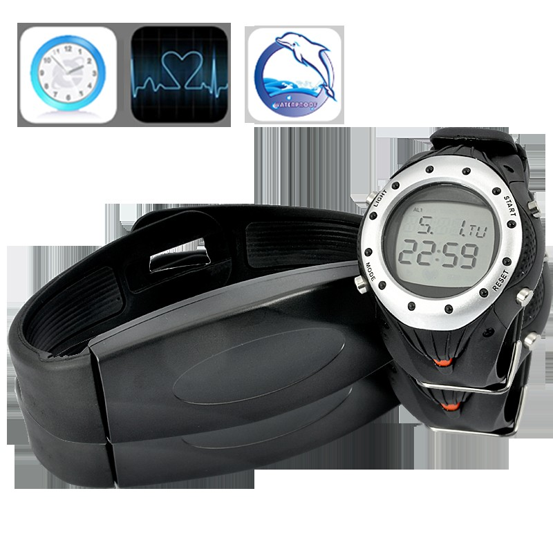 Waterproof Heart Rate Monitor with Stop Watch and Chest Belt for Training and Exercise
