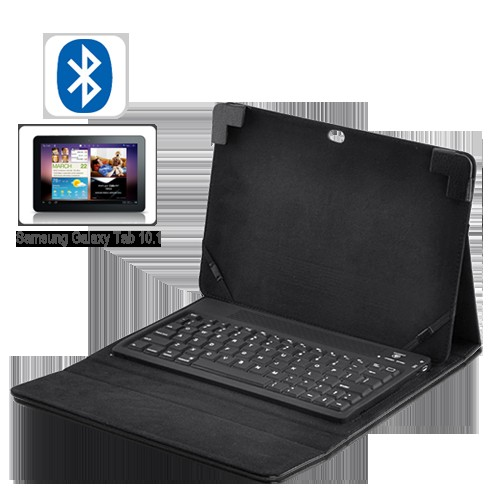 Robust Leather Case with Spillproof Bluetooth Keyboard - For Samsung Galaxy Tab 10.1