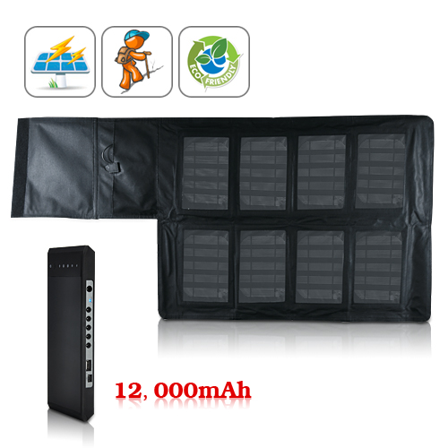 Wholesale Portable High Capacity Solar Charger and Battery (12,000 mAh, 8 Laptop Adapters + 5 Digital Product Adapters)