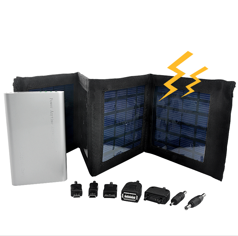 Foldable Panels Solar Charger and Battery (4000mAh, 7 Adapters)