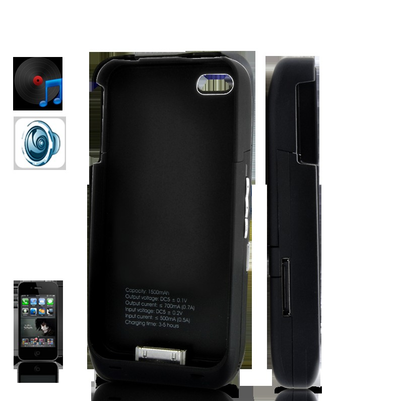Protective Case + 1500 mAh Battery + 10W Speaker - For iPhone 4/4s