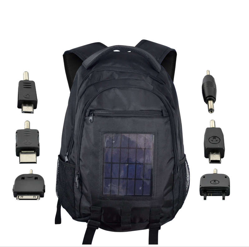 Wholesale Solar Battery Charger Backpack (6 Adapters, 2200mAh, 2.4W)