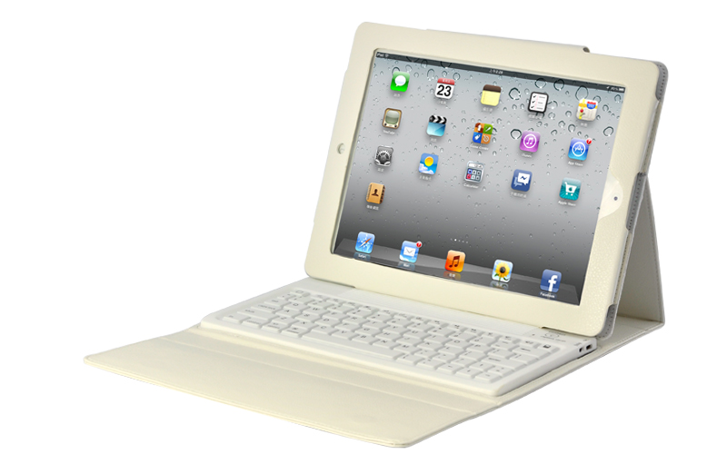 White Robust Case + Spillproof Bluetooth Keyboard for iPad 2/3