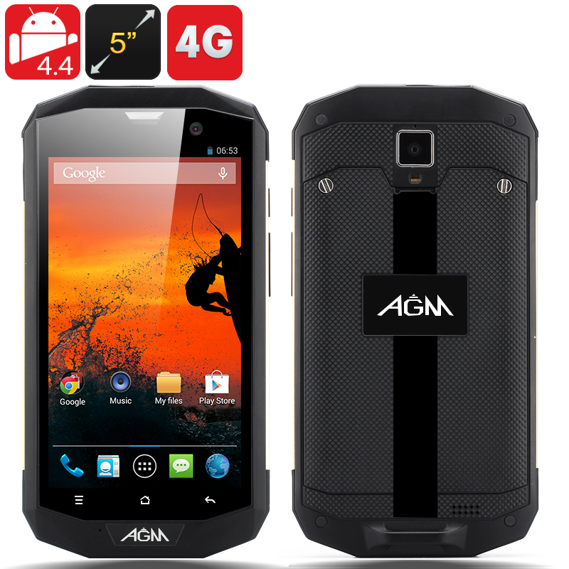 Wholesale AGM 5S IP67 Rugged 4G Android Phone (Golden, 5 Inch, MSM8926 1.2GHz Quad Core, Waterproof, Shockproof, Dust Proof)