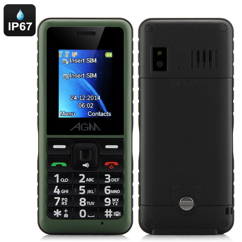 Wholesale AGM Stone 2 Quad-Band IP67 Waterproof Feature Bar Phone (1.7 Inch, Bluetooth, FM Radio, Green)
