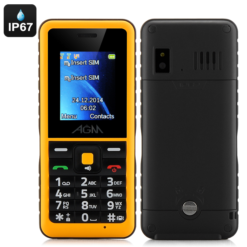 Wholesale AGM Stone 2 Quad-Band IP67 Waterproof Feature Bar Phone (1.7 Inch, Bluetooth, FM Radio, Yellow)